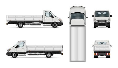 Flatbed truck vector illustration. Isolated white lorry. Vectores