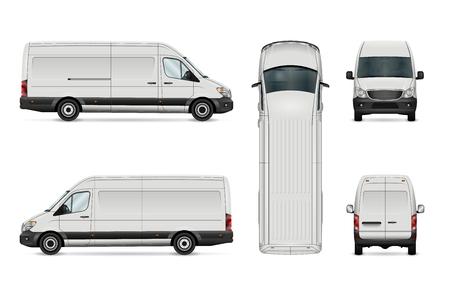 白いバンのベクトル図です。白い背景の上の隔離された商用車。