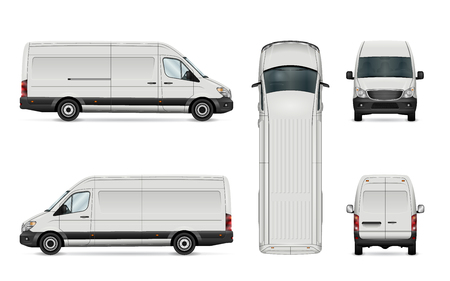 White van vector illustration. Isolated commercial vehicle on white background.