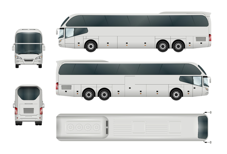 Biały szablon autobusu. Turystyczny trener odizolowywający na bielu. Wszystkie elementy w grupach mają nazwy, boki widoku są na osobnych warstwach.