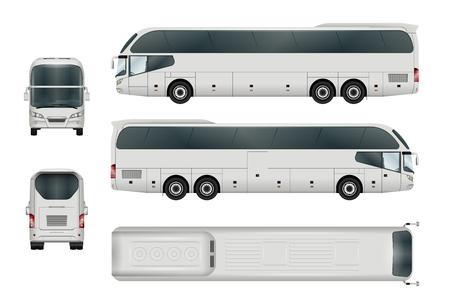 Witte bus sjabloon. Toeristenbus op wit wordt geïsoleerd dat. Alle elementen in de groepen hebben namen, de weergavekanten bevinden zich op afzonderlijke lagen.