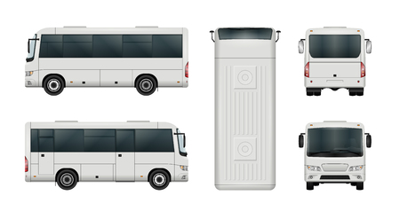 Blanco mini plantilla de vector de autobús. Minibús aislado de la ciudad. Todos los elementos de los grupos tienen nombres, los lados de la vista están en capas separadas.