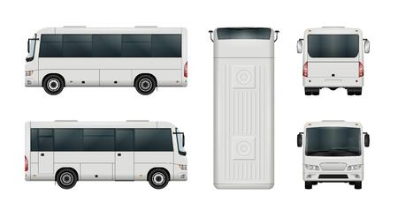 Witte mini bus vector sjabloon. Geïsoleerde stad minibus. Alle elementen in de groepen hebben namen, de weergavekanten bevinden zich op afzonderlijke lagen.