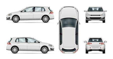 Auto-Vektor-Vorlage auf weißem Hintergrund. Hatchback isoliert. Alle Ebenen und Gruppen sind gut organisiert für einfache Bearbeitung und recolor. Blick von der Seite, vorne, hinten, oben. Vektorgrafik