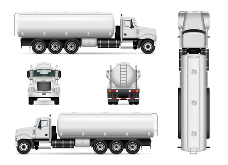 Tanker truck vector template for car branding and advertising. Isolated tanker car set on white. All layers and groups well organized for easy editing and recolor. View from side, front, back, top. Illustration