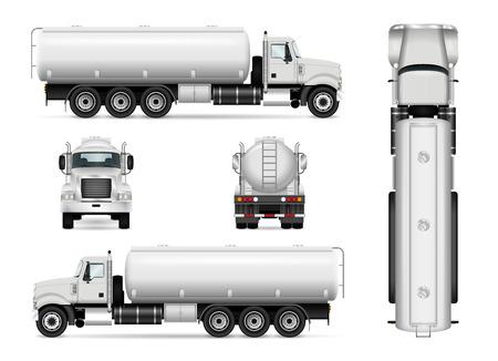 Tankwagen-Vektor-Vorlage für Auto-Branding und Werbung. Lokalisierter Tankerwagen stellte auf Weiß ein. Alle Ebenen und Gruppen sind gut organisiert, um sie einfach bearbeiten und neu einfärben zu können. Blick von der Seite, vorne, hinten, oben. Vektorgrafik