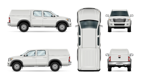 Pickup truck vector template for car branding and advertising. Isolated car on white background. All layers and groups well organized for easy editing and recolor. View from side, front, back, top. Vettoriali