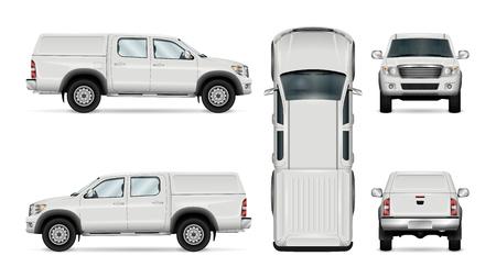Pick-up truck vector sjabloon voor auto branding en reclame. Geïsoleerde auto op witte achtergrond. Alle lagen en groepen goed georganiseerd voor eenvoudige bewerking en recolor. Zicht vanaf zijkant, voorkant, achterkant, bovenkant.