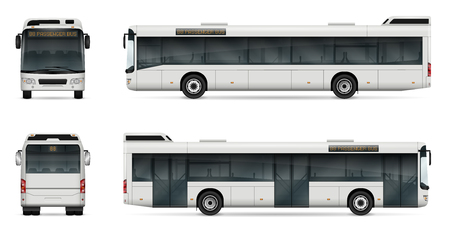 City bus vector template for car branding and advertising. Isolated passenger transport set on white background. All layers and groups well organized for easy editing and recolor.