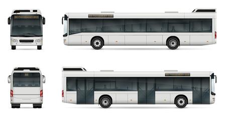 Stadsbus vectorsjabloon voor auto branding en reclame. Geïsoleerd passagiersvervoer dat op witte achtergrond wordt geplaatst. Alle lagen en groepen goed georganiseerd voor eenvoudige bewerking en recolor.