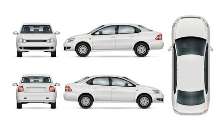 Weiße Auto Vorlage für Auto Branding und Werbung. Isolierte Limousine auf weißem Hintergrund. Alle Ebenen und Gruppen sind gut organisiert für einfache Bearbeitung und recolor. Blick von der Seite; Vorderseite; zurück; oben.