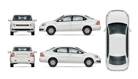 Witte auto sjabloon voor auto branding en reclame. Geïsoleerde sedan op witte achtergrond. Alle lagen en groepen goed georganiseerd voor eenvoudige bewerking en recolor. Uitzicht vanaf de zijkant; voorkant; terug; top.
