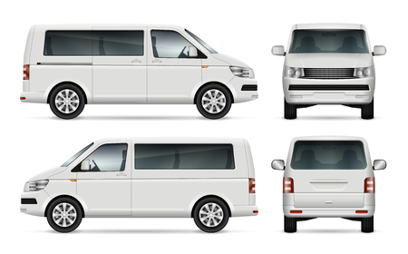 Mini bus vector template for car branding and advertising. Isolated city minibus on white background. All layers and groups well organized for easy editing and recolor. View from left and right side, front, back.