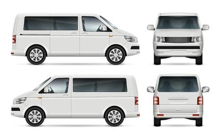 Mini modelo del vector del autobús para la marca de fábrica del coche y la publicidad. Aislado minibús de la ciudad sobre fondo blanco. Todas las capas y grupos están bien organizados para una fácil edición y recoloración. Vista desde la izquierda y derecha, frente, atrás.