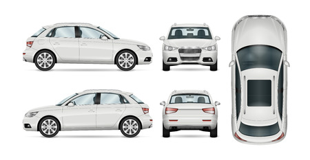 SUV car set on white background, template for branding and advertising. All layers and groups well organized for easy editing and recolor. View from side; front; back; top. Illustration