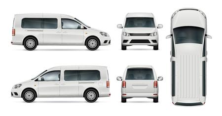 자동차 브랜딩 및 광고에 대 한 흰색 자동차 벡터 템플릿. 격리 된 수레가 설정합니다. 모든 레이어와 그룹은 쉽게 편집하고 다시 칠하기 편하도록 구성되어 있습니다. 측면, 전면, 후면, 상단에서 봅니다.