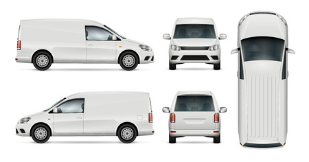 Car vector template for car branding and advertising. Isolated mini van set on white background. All layers and groups well organized for easy editing and recolor. View from side, front, back, top. Stock Illustratie