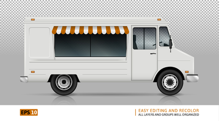 Food Truck Vector Template For Car Branding And Advertising. Isolated Delivery Van On Transparent Background. All layers and groups well organized for easy editing and recolor. View from right side.