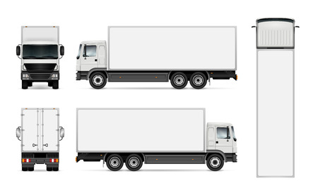 Semi truck template for car branding and advertising. Isolated cargo vehicle set on white background. All layers and groups well organized for easy editing and recolor. View from side, front, back, top.