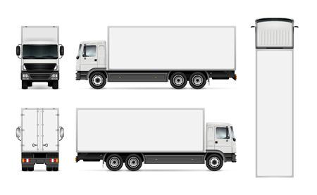 Semi-vrachtwagen sjabloon voor auto branding en reclame. Geïsoleerdv ladingsvoertuig dat op witte achtergrond wordt geplaatst. Alle lagen en groepen goed georganiseerd voor eenvoudige bewerking en recolor. Zicht vanaf zijkant, voorkant, achterkant, bovenkant. Vector Illustratie