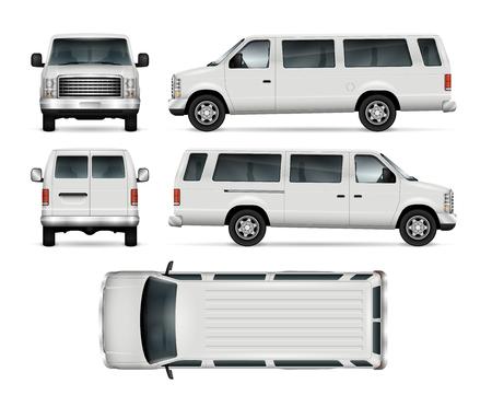 Modèle de vecteur de van de passagers pour la marque et la publicité de voiture. Mini bus isolé sur fond blanc. Toutes les couches et tous les groupes sont bien organisés pour faciliter l'édition et la recoloration. Vue de côté, avant, arrière, haut.