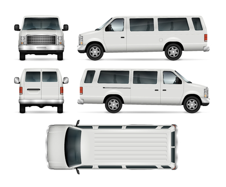 Passenger van vector template for car branding and advertising. Isolated mini bus on white background. All layers and groups well organized for easy editing and recolor. View from side, front, back, top. Vectores