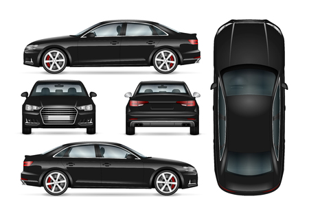 Black car vector template for car branding and advertising. Isolated business sedan set. All layers and groups well organized for easy editing and recolor. View from side; front; back; top.