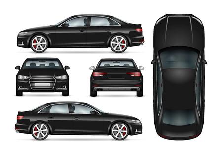 Modèle de vecteur de voiture noire pour l'image de marque de voiture et de la publicité. Ensemble de berline affaires isolé. Toutes les couches et tous les groupes sont bien organisés pour faciliter l'édition et la recoloration. Vue de côté; de face; arrière; Haut.