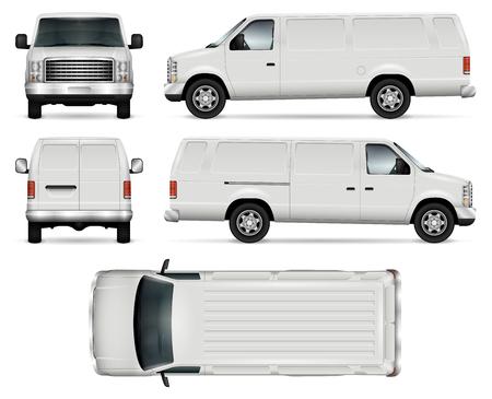 Panel van Vektor Vorlage für Auto Branding und Werbung. Isolierte LKW auf weißem Hintergrund. Alle Ebenen und Gruppen sind gut organisiert für einfache Bearbeitung und recolor. Blick von der Seite, vorne, hinten, oben.