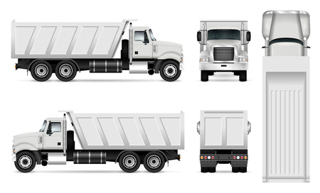 Vector dump truck template for car branding and advertising. Tipper truck set on white background. All layers and groups well organized for easy editing and recolor. View from side, front, back, top. Illustration