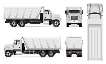 Vector vaciar la plantilla de camiones para la marca de automóviles y la publicidad. Conjunto de camiones volquete sobre fondo blanco. Todas las capas y grupos están bien organizados para su fácil edición y recoloración. Vista lateral, frontal, posterior, superior.