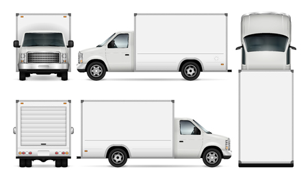 Van template for car branding and advertising. Isolated freight delivery truck set on white background. All layers and groups well organized for easy editing and recolor. View from side, front, back, top. Vettoriali