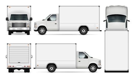 Plantilla de Van para marca de automóvil y publicidad. Conjunto de camiones de transporte de carga aislados sobre fondo blanco. Todas las capas y grupos están bien organizados para una fácil edición y recoloración. Vista lateral, frontal, posterior, superior. Foto de archivo - 80782237
