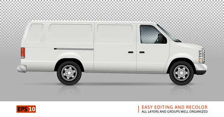 all right: White van vector template for car branding and advertising. Isolated truck on transparent background. All layers and groups well organized for easy editing and recolor. View from right side.