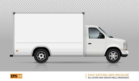 Van vector sjabloon voor auto branding en reclame. Geïsoleerde vracht levering vrachtwagen ingesteld op transparante achtergrond. Alle lagen en groepen goed georganiseerd voor eenvoudige bewerking en recolor. Uitzicht vanaf de rechterkant.