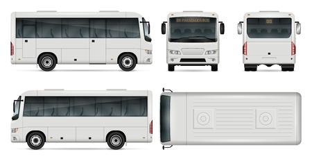 Minibus plantilla de vectores para marcas de automóviles y publicidad. Mini autobús de la ciudad aislada en fondo blanco. Todas las capas y grupos están bien organizados para editarlos y volver a colorearlos fácilmente. Vista lateral, frontal, posterior y superior. Foto de archivo - 81964042