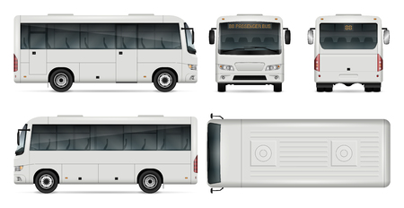 Minibus vector template for car branding and advertising. Isolated city mini bus set on white background. All layers and groups well organized for easy editing and recolor. View from side, front, back, top.