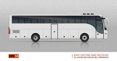 Bus vector template for car branding and advertising. Isolated coach bus set on white background. All layers and groups well organized for easy editing and recolor. View from right side. Illustration