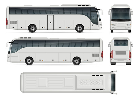 Bus vector template for car branding and advertising. Isolated coach bus set on white background. All layers and groups well organized for easy editing and recolor. View from side, front, back, top.