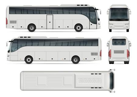 Busvektorschablone für Auto-Branding und Werbung. Isolierter Busbus gesetzt auf weißem Hintergrund. Alle Ebenen und Gruppen sind gut organisiert, um sie einfach bearbeiten und neu einfärben zu können. Blick von der Seite, vorne, hinten, oben.