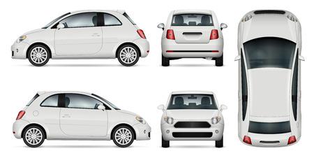 Mini auto vector sjabloon voor auto branding en reclame. Geïsoleerde minicar die op witte achtergrond wordt geplaatst. Alle lagen en groepen goed georganiseerd voor eenvoudige bewerking en recolor. Zicht vanaf zijkant, voorkant, achterkant, bovenkant.