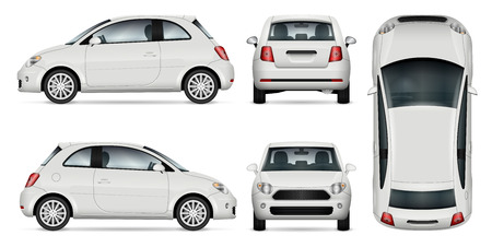 Mini car vector template for car branding and advertising. Isolated minicar set on white background. All layers and groups well organized for easy editing and recolor. View from side, front, back, top.