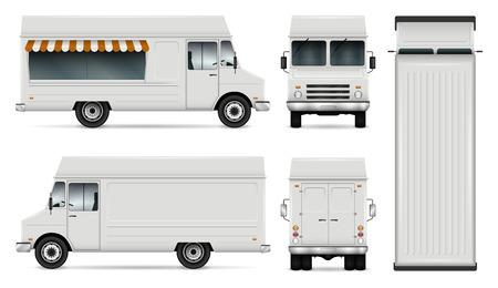 Lebensmittel-LKW-Vektorschablone für das Branding und die Werbung des Autos. Getrennte Lieferwagenabbildung auf Weiß. Alle Ebenen und Gruppen sind für die einfache Bearbeitung gut organisiert. Ansicht von der Seite, vorne, hinten, oben. Vektorgrafik