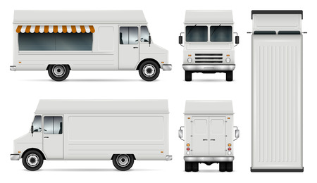 Food truck vector template for car branding and advertising. Isolated delivery van illustration on white. All layers and groups well organized for easy editing. View from side, front, back, top.