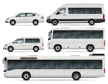 City Transport Mock-up – Buses, Passenger Van and Cars. Vector Template For Car Branding And Advertising. All layers and groups well organized for easy editing and recolor. View from left side.