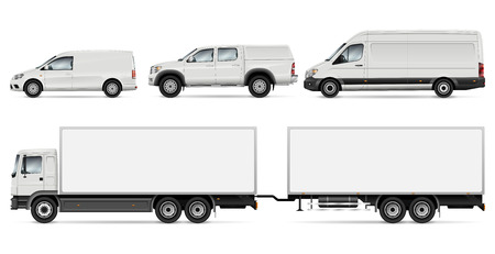 Cargo Transport Mock-up: Trailer Truck, Pickup, Van and Commercial Car. Vector Template For Car Branding And Advertising. All layers and groups well organized for easy editing and recolor. Vectores