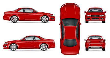 Red sports car vector template for car branding and advertising. Isolated coupe car set on white background. All layers and groups well organized for easy editing and recolor.