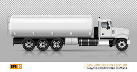 Tankwagen vector sjabloon voor auto branding en reclame. Witte brandstof semi-vrachtwagen op transparante achtergrond. Alle lagen en groepen goed georganiseerd voor eenvoudige bewerking en recolor. Bekijk de rechterkant.