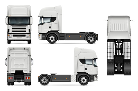 White truck vector template for car branding and advertising. Lorry set on white background. All layers and groups well organized for easy editing and recolor. View from side, front, back, top.