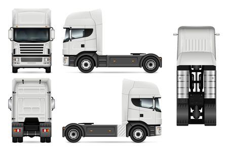 Weiße LKW-Vektorschablone für Autobranding und -werbung. Lastwagen eingestellt auf weißen Hintergrund. Alle Ebenen und Gruppen sind gut organisiert, um sie einfach bearbeiten und neu einfärben zu können. Blick von der Seite, vorne, hinten, oben. Vektorgrafik